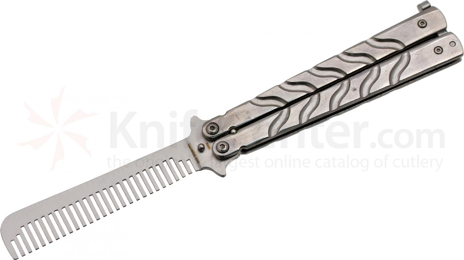 Ronin Gear Balisong Butterfly Comb Trainer, 5 inch Closed, Silver