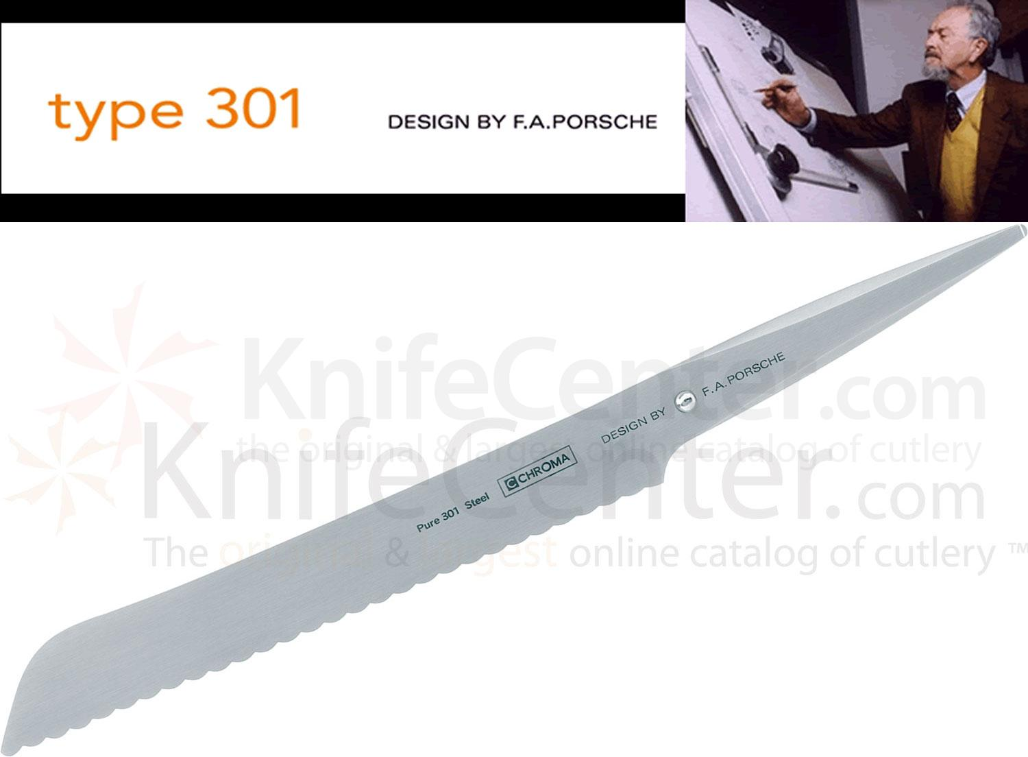 Chroma Cutlery F.A. Porsche Type 301 8-1/2 inch Bread Knife, Japanese 301 Stainless Steel