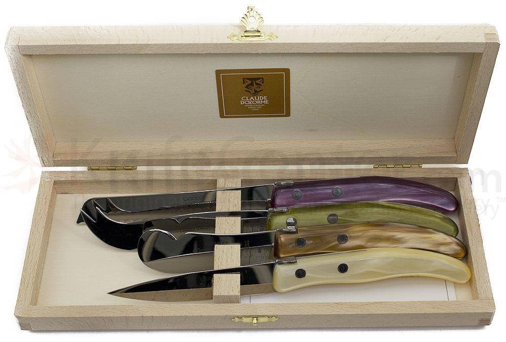 Claude Dozorme 4 Piece Berlingot Knife Set with Colored Synthetic Handles and Wooden Box