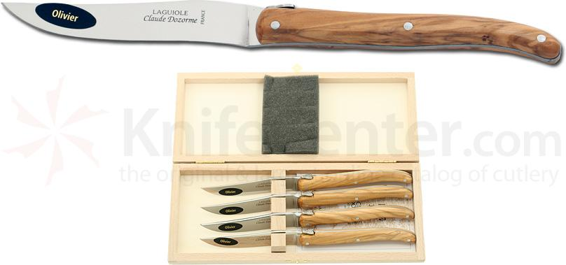 Claude Dozorme Set of 4 Laguiole Steak Knives with Bee Olive Wood Handles, Wood Gift Box