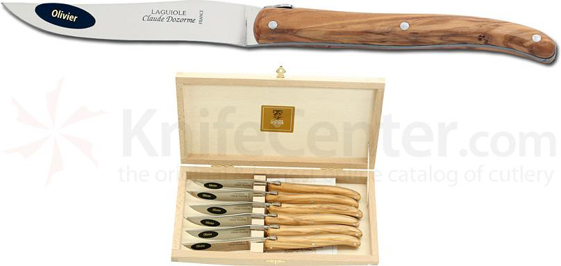 Claude Dozorme Set of 6 Laguiole Steak Knives with Olive Wood Handles and Bee, Wood Gift Box