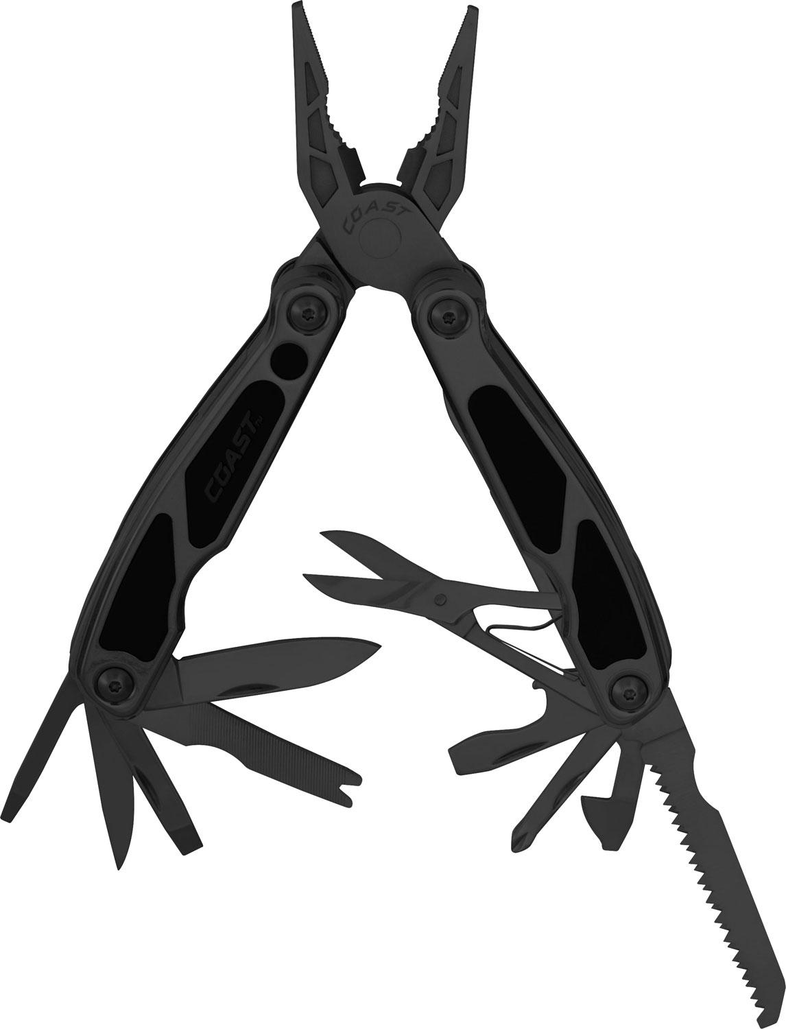 Coast Cutlery 5799B Tactical Black LED Pocket Pliers Multi-Tool 4 inch Closed Length, Steel and Rubber Handles