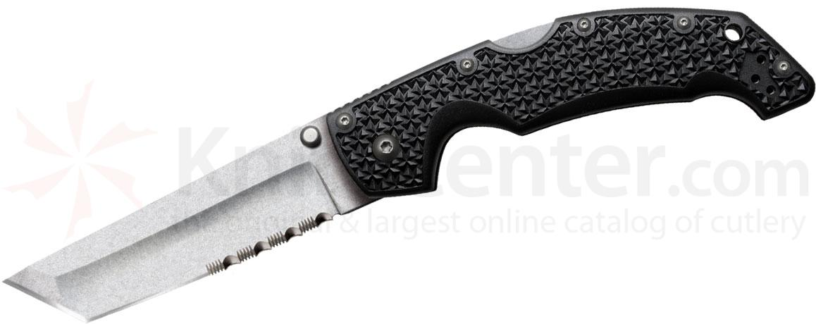 Cold Steel 29TLTH Large Voyager 4 inch Stonewash Combo Tanto Blade, Grivory Handles