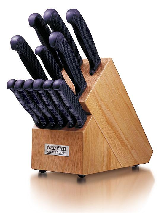 Cold Steel 59KBL Kitchen Classics Oak Block Stand Only, KNIVES NOT INCLUDED