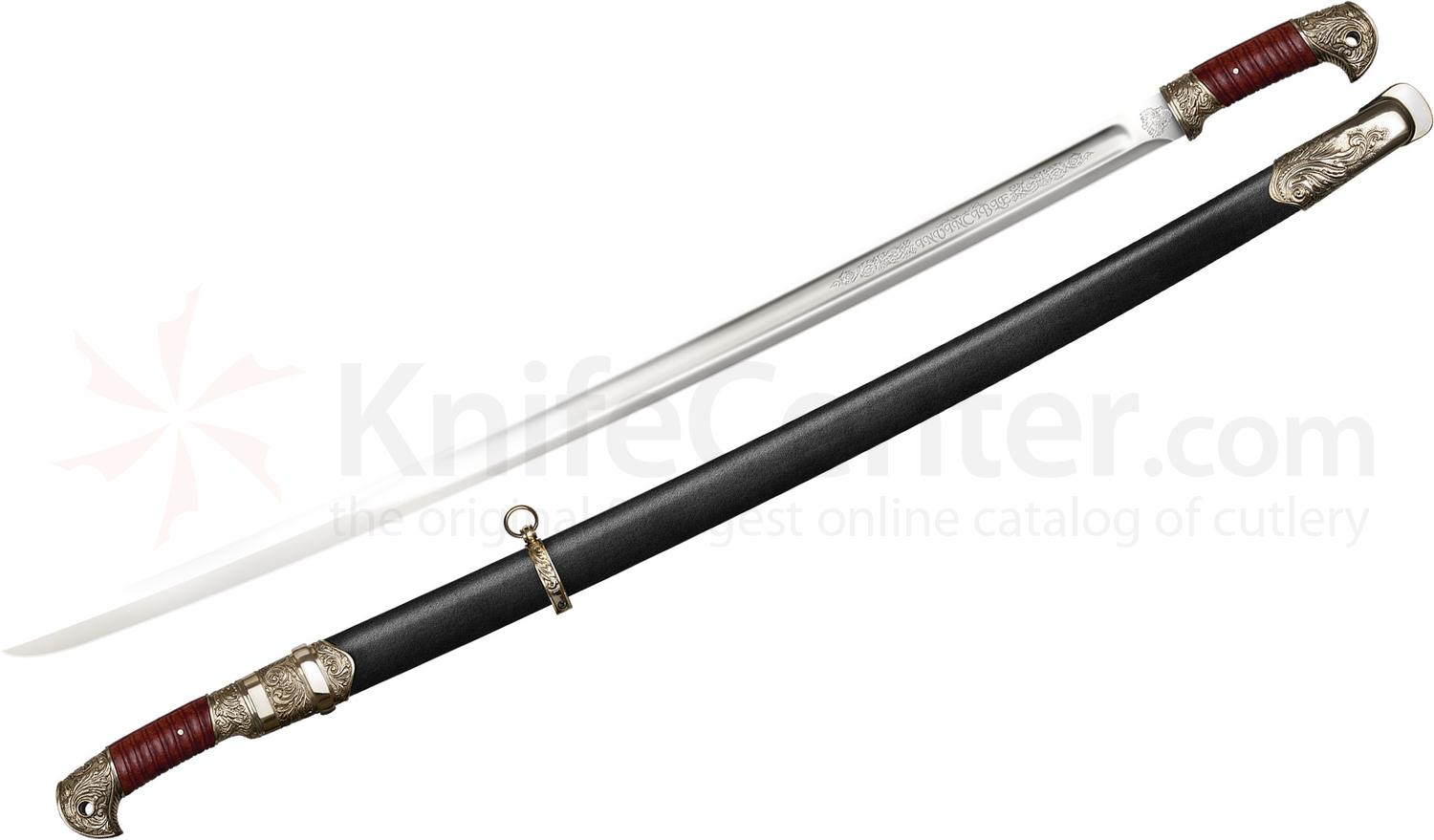 Cold Steel Russian Shasqua Saber 32 inch Carbon Steel Blade, Wood/Leather Scabbard