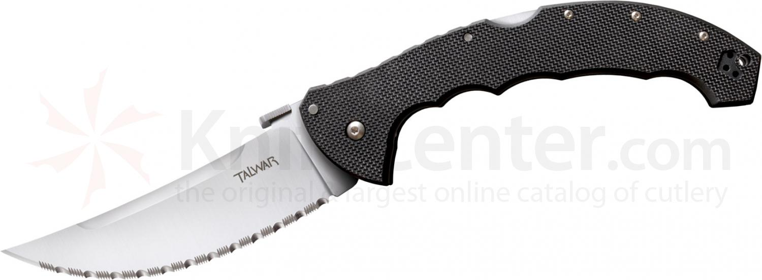 Cold Steel 21TTXLS Talwar Folding Knife 5-1/2 inch Serrated Blade, G10 Handles