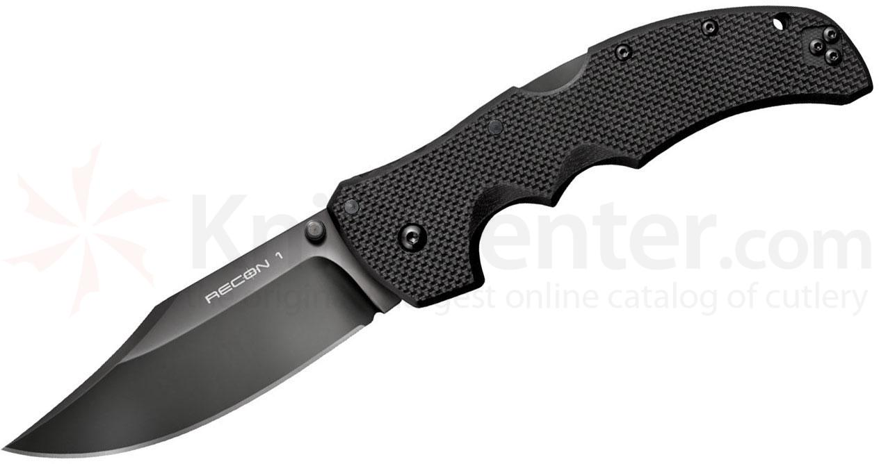 Cold Steel 27BC Recon 1 Clip Point Folding Knife 4 inch S35VN Black DLC Plain Blade, Black G10 Handles