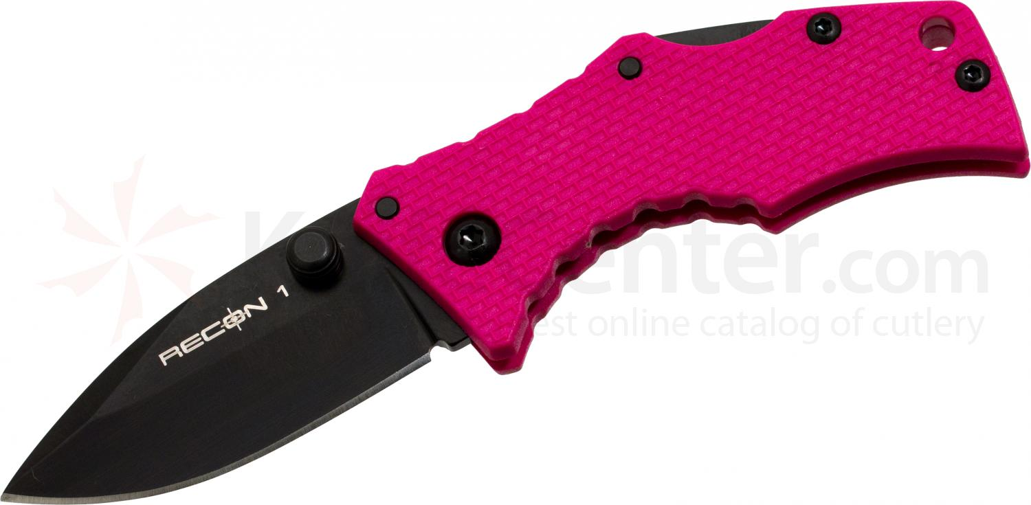 Cold Steel 27TDSP Micro Recon 1 Spear Point 2 inch AUS8 Plain Blade, Pink G10 Handles