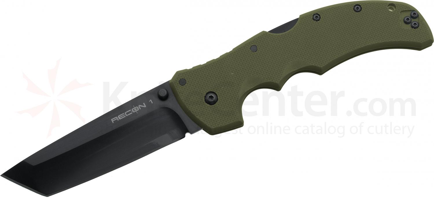 Cold Steel 27TLTVG Recon 1 Tanto 4 inch CTS-XHP Plain Blade, OD Green G10 Handles