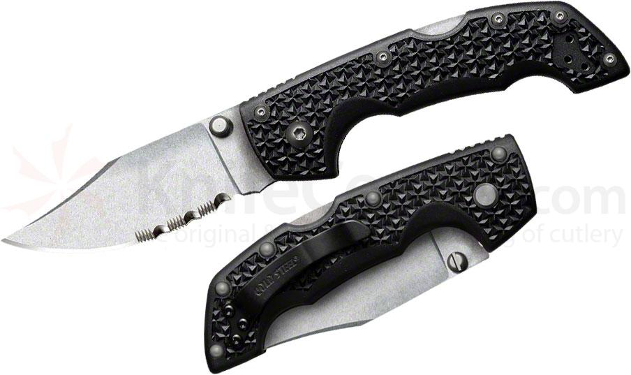 Cold Steel 29TMCH Medium Voyager 3 inch Stonewash Combo Clip Point Blade, Grivory Handles
