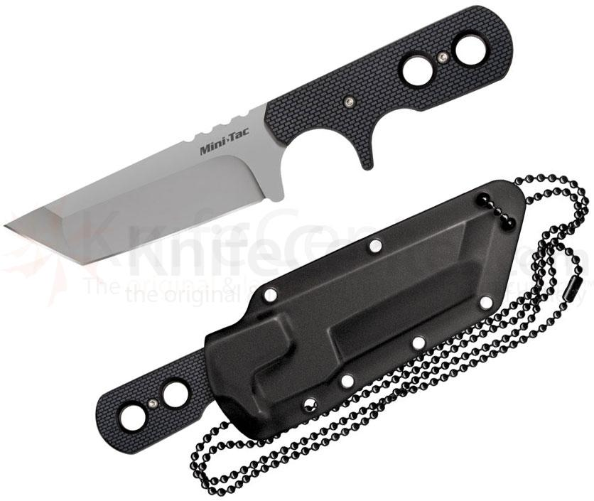 Cold Steel 49HTF Mini Tac Tanto Fixed 3-3/4 inch Plain Blade with Sheath