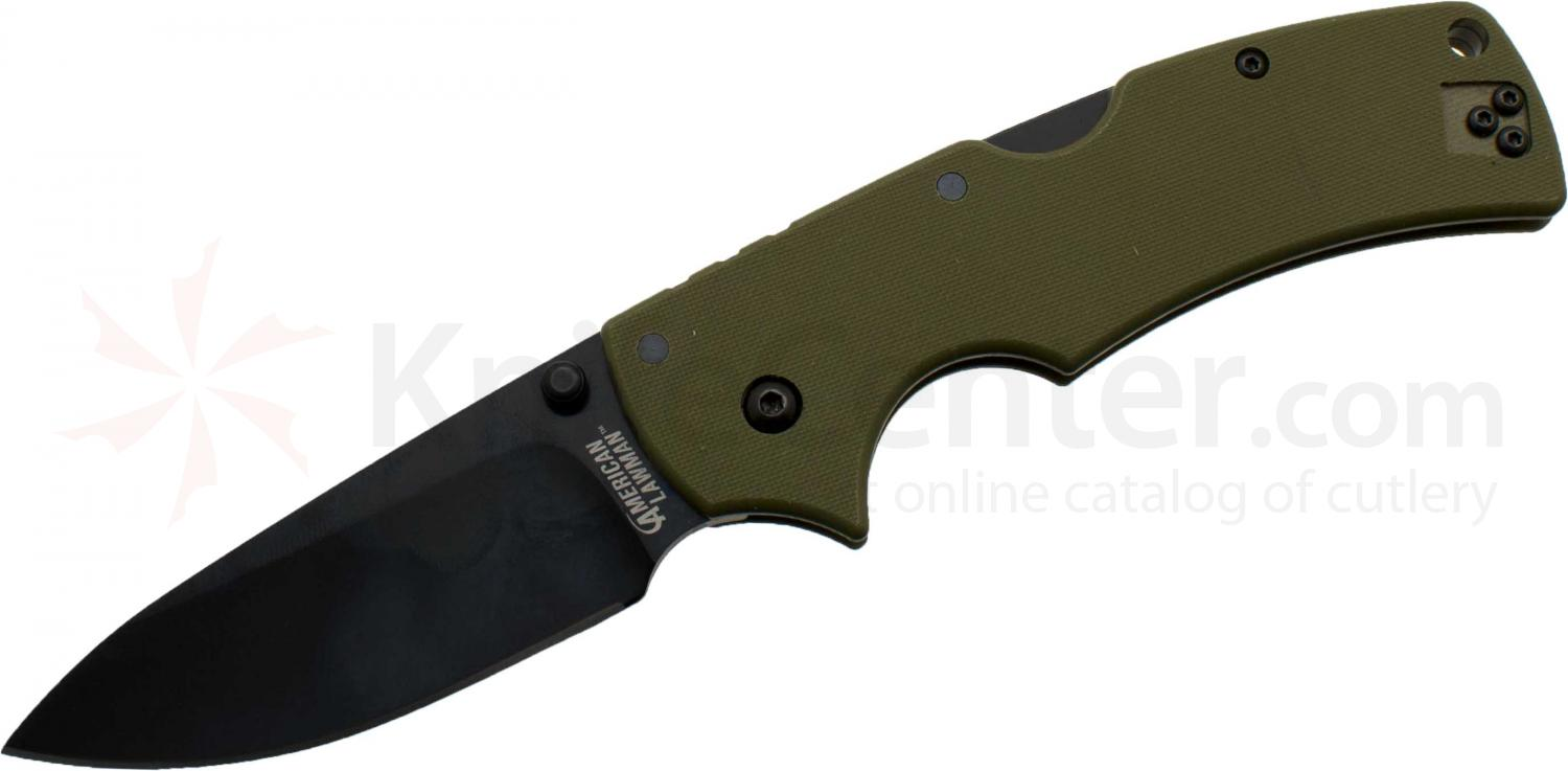 Cold Steel 58ALVG American Lawman Folding Knife 3.5 inch CTS XHP Blade, OD Green G10 Handles