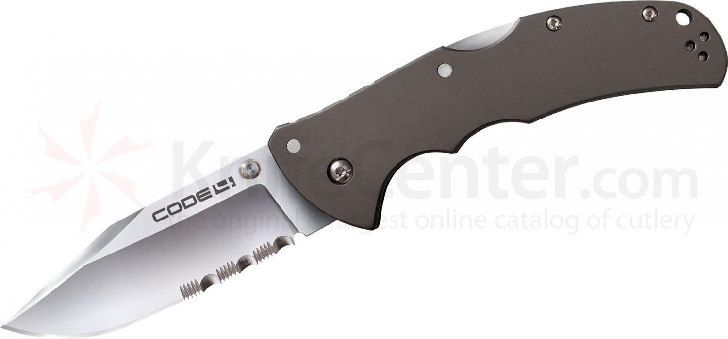 Cold Steel 58TPCH Code 4 Folding Knife Clip Point 3-1/2 inch Combo Blade, Aluminum Handles