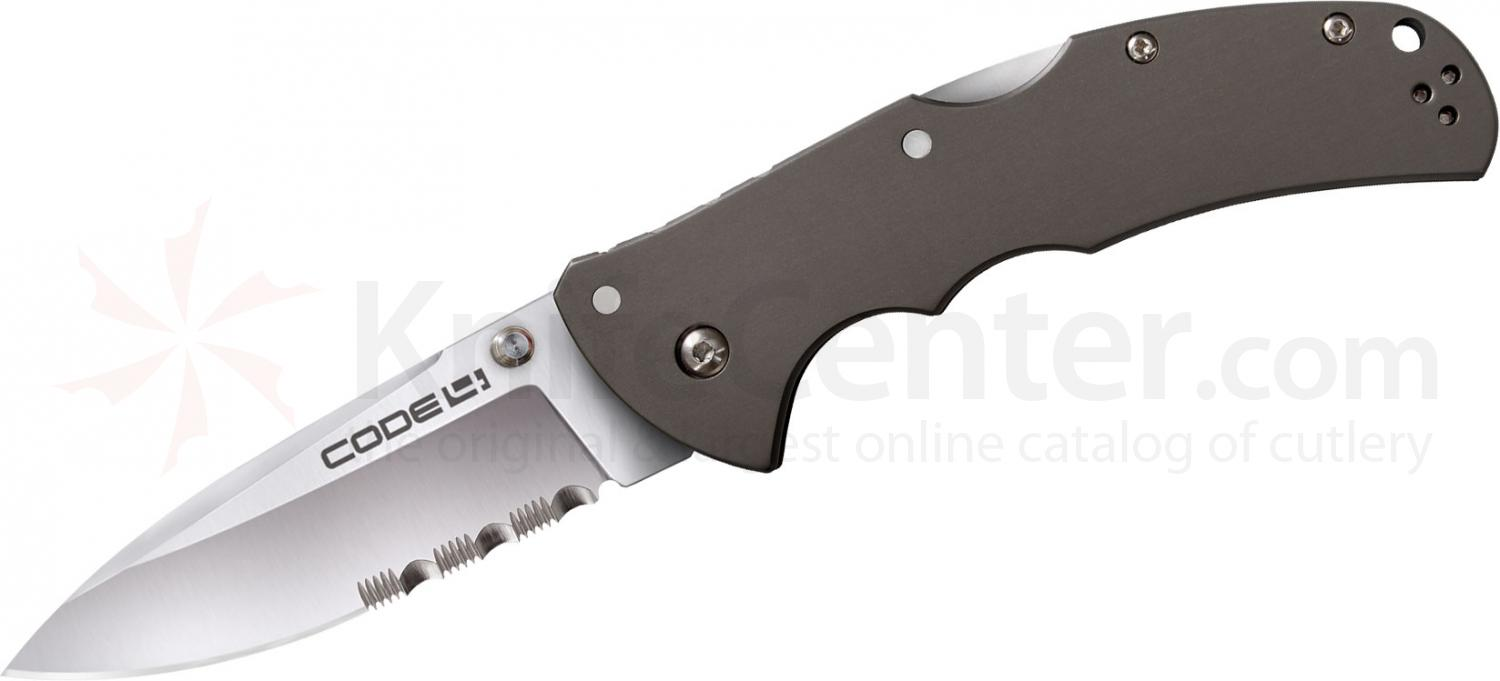 Cold Steel 58TPSH Code 4 Folding Knife Spear Point 3-1/2 inch Combo Blade, Aluminum Handles