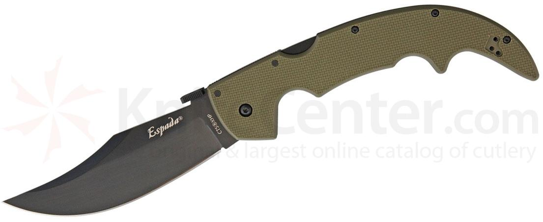 Cold Steel 62NGLVG Limited Edition Large Espada Folding Knife 5.5 inch Black CTS-XHP Plain Blade, OD Green G10 Handles