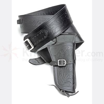 Single Tooled Black Western Holster - Extra Large