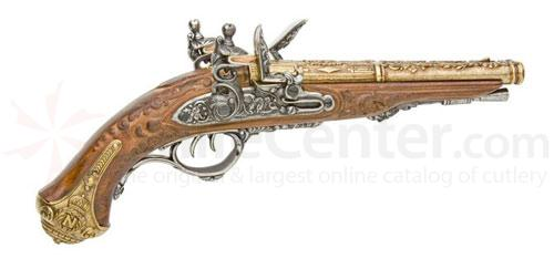 French Double Barrel Flintlock Pistol