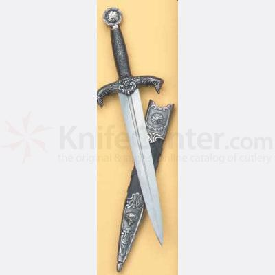 Reproduction Medieval Dagger With Silver Finish And Scabbard