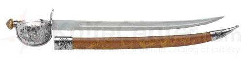Spanish Made Pirate Cutlass With Silver Finish And Scabbard