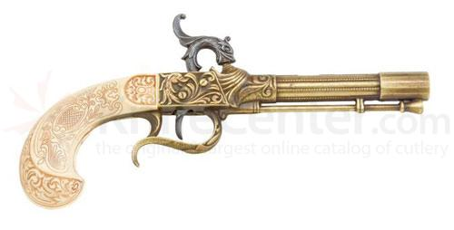 English Percussion Pistol With Brass And Ivory