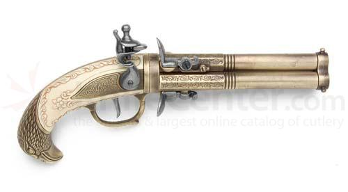Three Barrel Revolving Flintlock Pistol