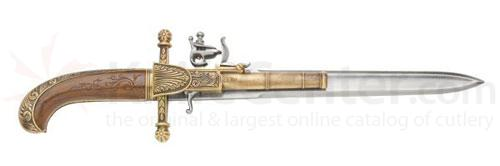 Reproduction Hunting Flintlock Dagger Pistol With Wood Grips