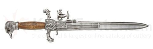 Reproduction Naval Flintlock Dagger Pistol With Wood Grips