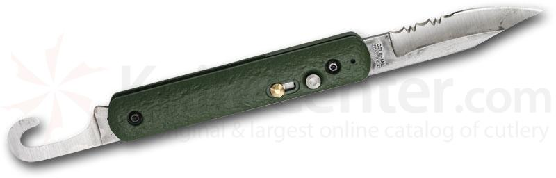Colonial Knife Co. First Responder AUTO Series™ 4-1/2 inch Combo Satin Blade, Green