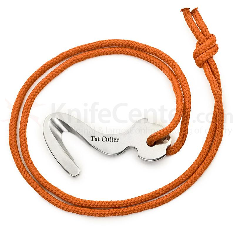 Colonial Knife Company Tat Cutter Rescue Hook with Paracord Necklace, Silver