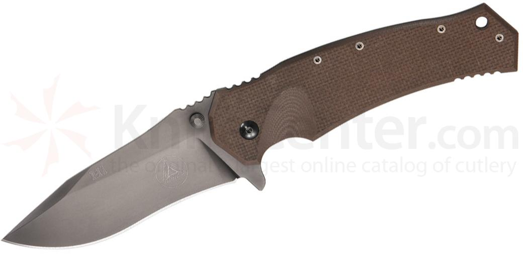 Combative Edge M1 Tactical Folder 3.75 inch N690Co Black Plain Blade, Titanium and Coyote G10 Handles