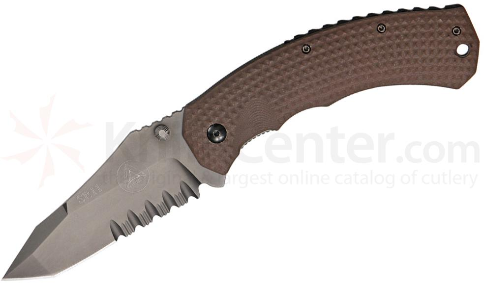 Combative Edge SR11 Tactical Folder 3.625 inch N690Co Black Combo Blade, Titanium and Coyote G10 Handles