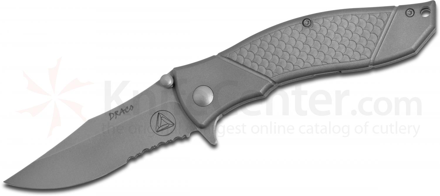 Combative Edge Draco Assisted Flipper 3.5 inch S30V Bead Blasted Combo Blade, Titanium Handles