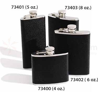 Concord 6 oz. Black Bison Leather Cover Stainless Steel Flask