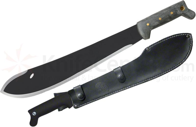 Condor Tool & Knife CTK227-15HCM Bolo Machete 15-1/2 inch Black Carbon Steel Blade, Micarta Handles, Leather Sheath