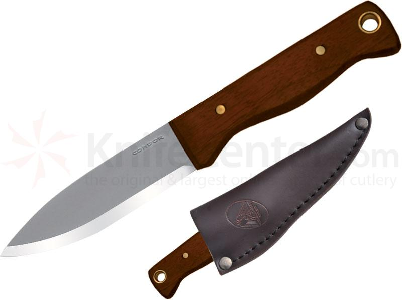 Condor Tool & Knife CTK232-4.3HC Bushlore Camp Knife 4-5/16 inch Carbon Steel Satin Blade, Hardwood Handle, Leather Sheath
