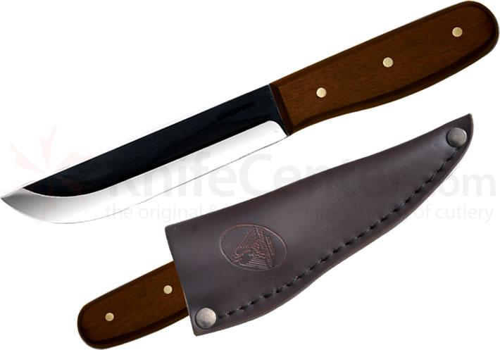 Condor Tool & Knife CTK236-5HC Bushcraft Basic Camp Knife 5 inch Carbon Steel Black Blade, Hardwood Handle, Leather Sheath