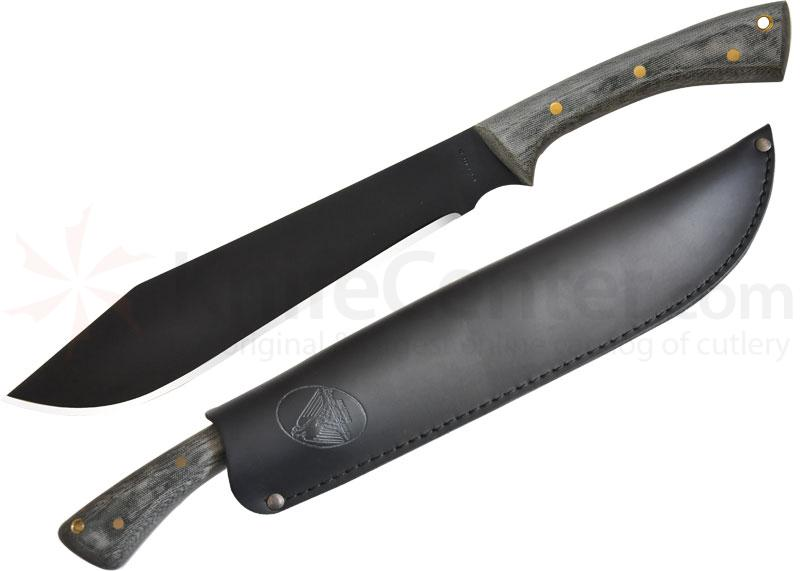 Condor Tool & Knife CTK244-11HCM Boomslang Camp Knife 11 inch Carbon Steel Black Blade, Micarta Handles, Leather Sheath