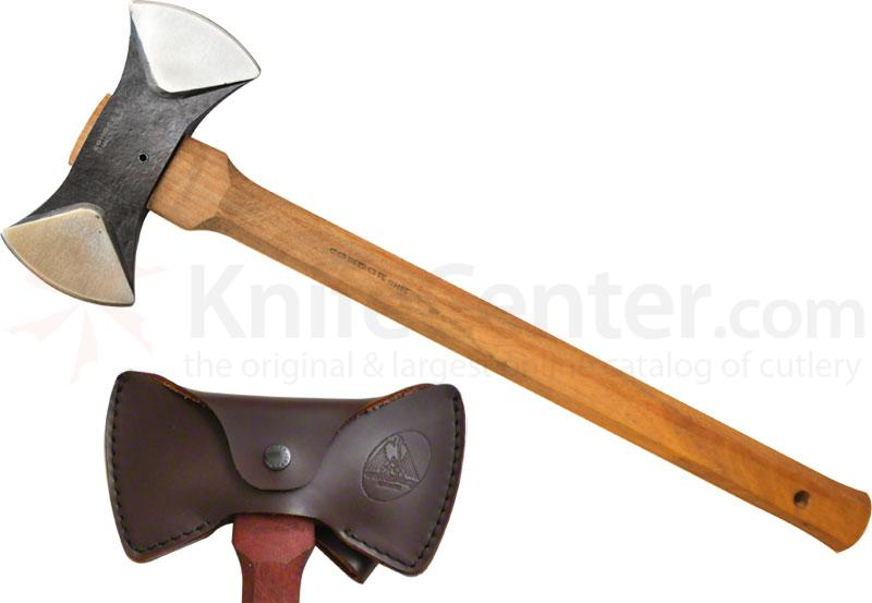 Condor Tool & Knife CTK4020C Thunder Bay Double Bit Belt Hatchet 5-1/2 inch Stainless Steel Head, American Hickory Handle, Leather Sheath