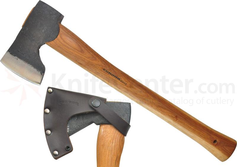 Condor Tool & Knife CTK4052C15 Woodworker Axe 5-1/2 inch Carbon Steel Head, American Hickory Handle, Leather Sheath