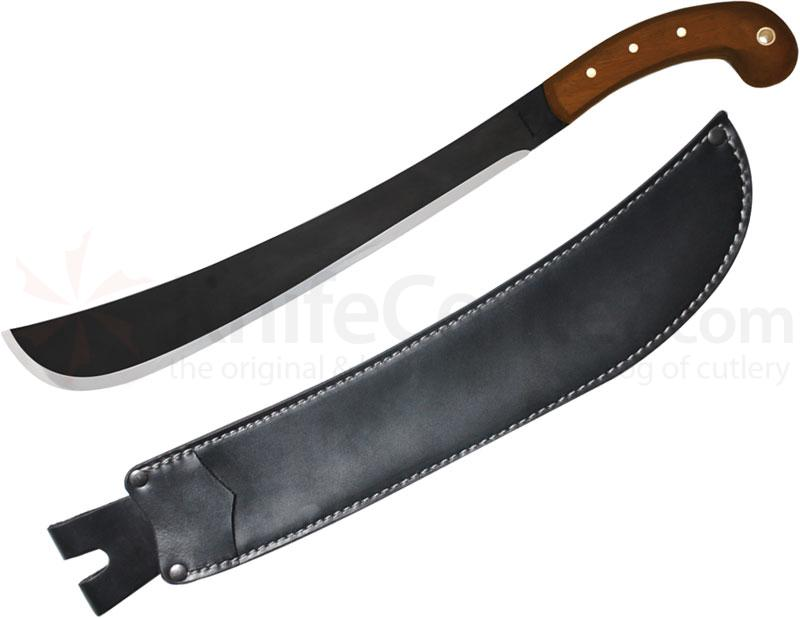 Condor Tool & Knife CTK410-14HCS Golok Machete 14 inch Black Carbon Steel Blade, Walnut Handles, Leather Sheath