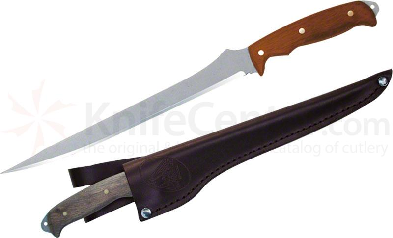 Condor Tool & Knife CTK7031-9.5 Tiburon Hunting Knife 9-1/2 inch Satin Stainless Steel Blade, Hardwood Handle, Leather Sheath