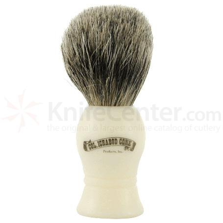 Colonel Conk #1000 Standard Pure Badger Shave Brush, Faux Ivory Handle