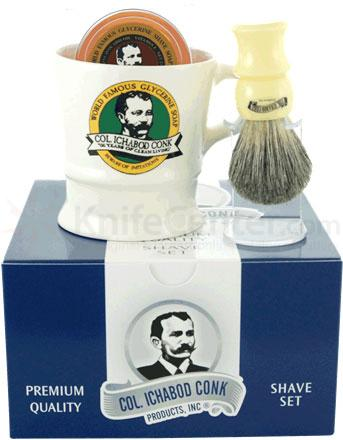 Colonel Conk #221 Shave Gift Set, Includes Mixed Badger Brush, Brush Stand, Shave Mug and Soap