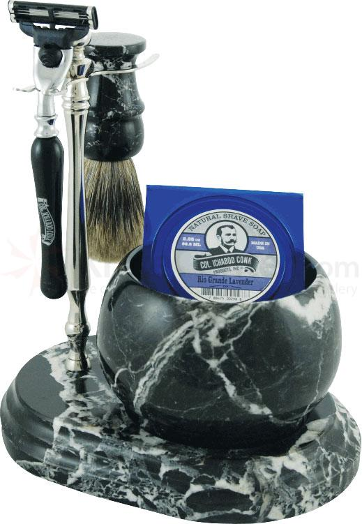 Colonel Conk #251B/C Handcrafted 5 Piece Marble Shave Set in Black Zebra, Black and Chrome