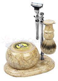 Colonel Conk Shaving Set 5 Piece Hand Crafted Fossil Shave Set, Chrome