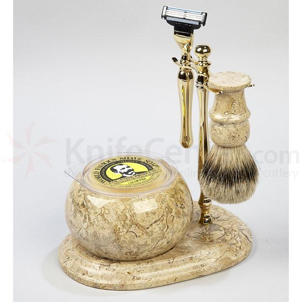 Colonel Conk Shaving Set 5 Piece Hand Crafted Fossil Shave Set Gold