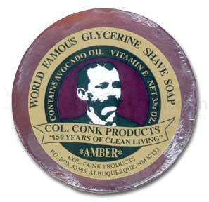 Colonel Conk Super Size Amber Fragrance Shave Soap 3 inch Diameter with Glycerine Base