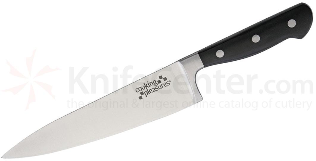 Cooking Pleasures 8 inch Chef's Knife, Black Synthetic Handles