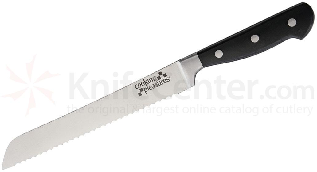 Cooking Pleasures 8.25 inch Bread Knife, Black Synthetic Handles