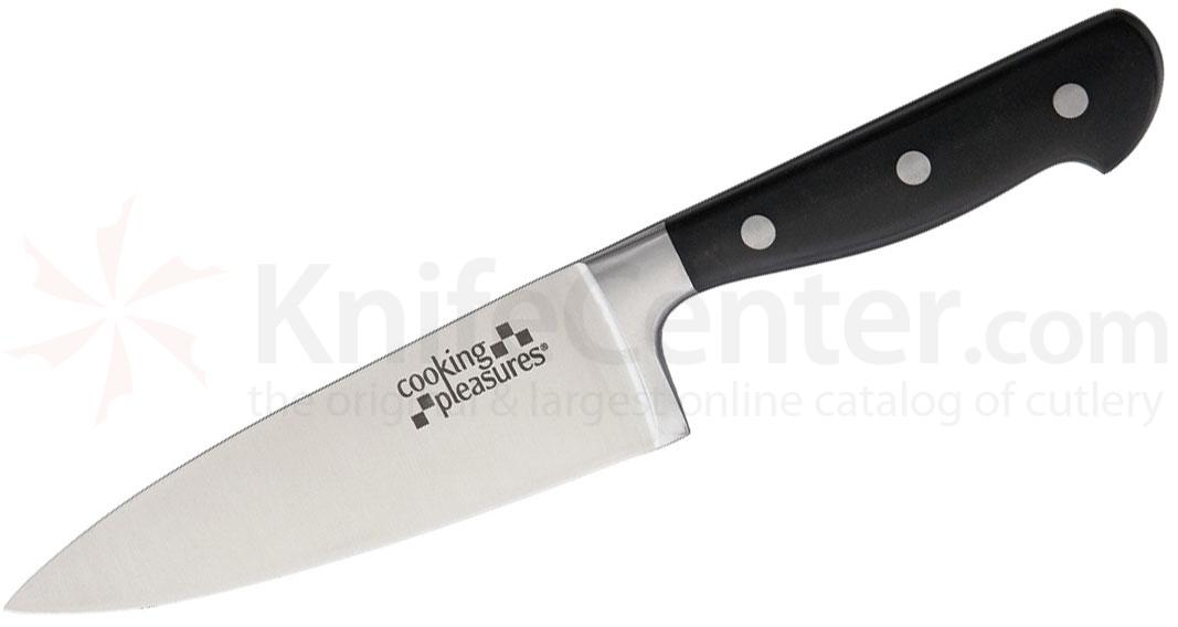 Cooking Pleasures 6.25 inch Medium Chef's Knife, Black Synthetic Handles
